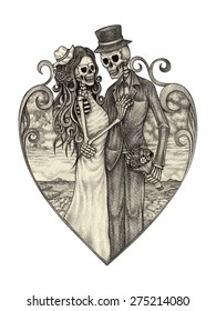 skull art wedding day of the dead. Hand pencil drawing on paper.