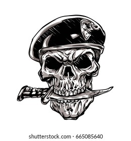 skull with beret and knife