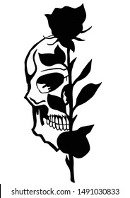 skull with black rose tattoo