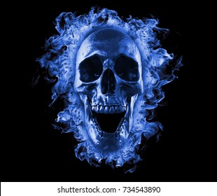Skull in blue fire wallpaper 3d rendering