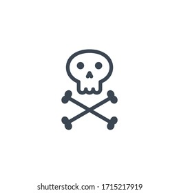 Skull and bones related glyph icon. Isolated on white background. illustration.