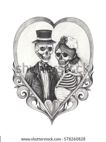 skull bride groom love hand pencil drawing stock