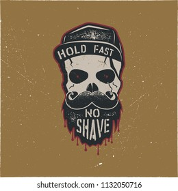 Skull character with blood stains, cap. Vintage hand drawn label, street style. Urban city attributes. No shave sign. Monochrome style. Hipster skull icon. Stock isolated on gold background