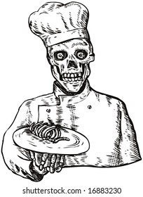 Skull chef dishing out a plate of bones