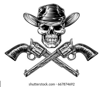 Skull cowboy in hat and a pair of crossed gun revolver handgun six shooter pistols drawn in a vintage retro woodcut etched or engraved style