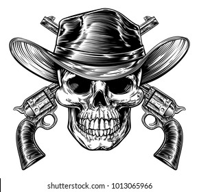 Skull cowboy in western hat and a pair of crossed gun revolver handgun six shooter pistols. Drawn in a vintage retro woodcut etched or engraved style