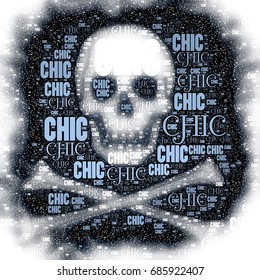 Skull and cross bones silhouette with chic words image