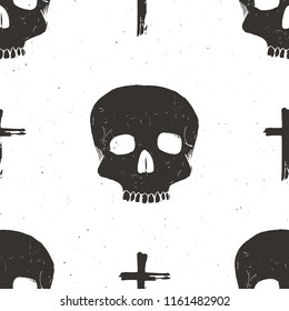 Skull and cross sumbol seamless pattern, hand drawn sketch illustration.