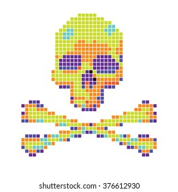 Skull and crossbones collected from pixels on a white background.