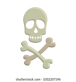 Skull and crossbones, colorful scary Halloween illustration.