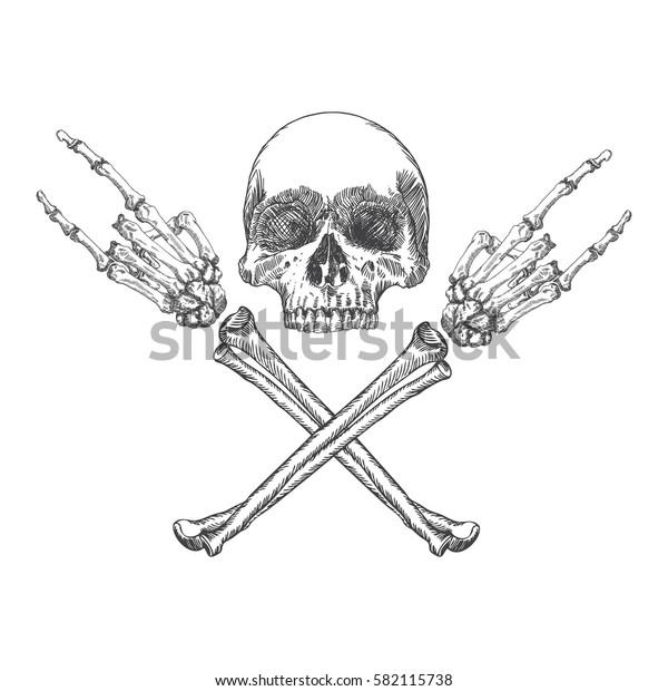 Skull and crossbones hands with gesture of heavy metal, rock and satan. Handmade detailed drawing.  Raster.