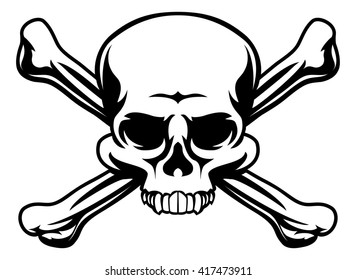 A skull and crossbones icon illustration like a pirates jolly roger sign
