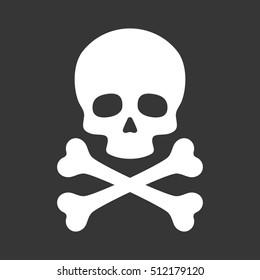 Skull with Crossbones Icon on Black Background. illustration