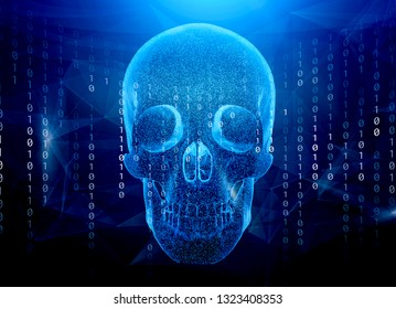 Skull and crossed bones danger or piracy sign made up of binary ones and zeros machine code. Concept for online piracy, hacking, internet fraud or similar threats.