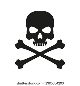 Skull with crossed bones icon. Death, pirate and danger symbol. Skeleton head.