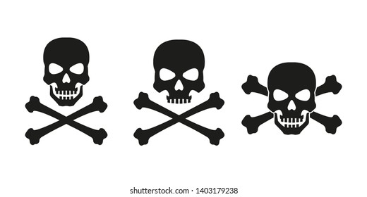 Skull with crossed bones icon set. Death, pirate and danger symbol. Skeleton head.