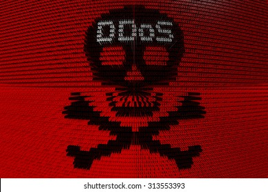 skull and crossed bones with the inscription ddos presented in the form of binary code 3d illustration