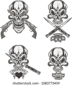 skull dagger knife and gun