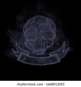 The skull of the dead comes in the form of smoke.