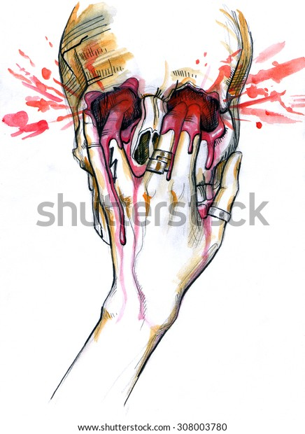 Skull with female hand pushing its fingers inside. Blood leaking around. Watercolor painting