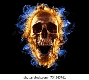 skull in fire wallpaper  3d illustration