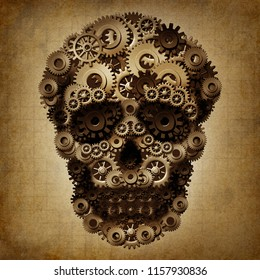 Skull gear grunge as a group of cog wheels shaped as a steampunk or steam punk death skeleton as a vintage technology danger symbol as a 3d illustration.