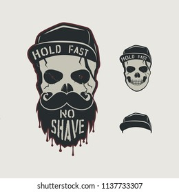 Skull head character. VIntage hand drawn design with cap, beard, mustache and words - hold fasy, no shave. Unusual hipster patch for barbershops poster. Stock isolated on retro background