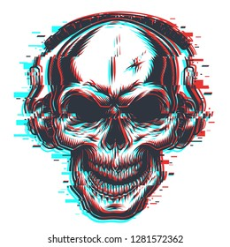 Skull with headphones in glitch effect.  illustration