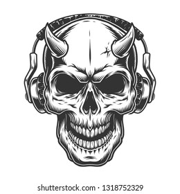 Skull with headphones. Music concept logo.  illustration