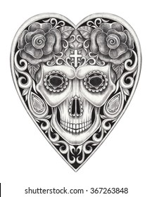 Skull heart day of the dead.Hand pencil drawing on paper.