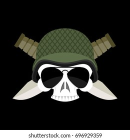 Skull in helmet military emblem. Army cap and  knife. Terrible sign for clothing soldiers