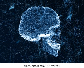 Skull, high-tech equipment. Visualization of hacking into computer technology. The skull in digital systems