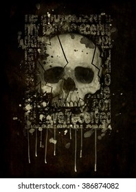 skull human on isolated black background.T-shirt Graphics