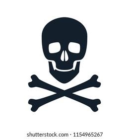 Skull icon illustration. Danger scary poison symbol.