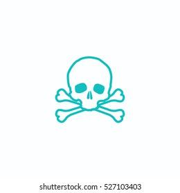 skull icon, isolated, white background