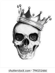 Skull illustration.T shirt print.