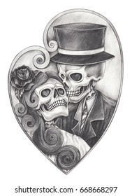 Skull in love day of the dead .Hand pencil drawing on paper.