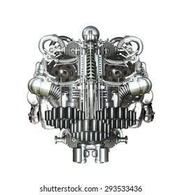 Skull of many mechanical parts, Homo Mechanicus