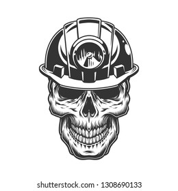 Skull in the miner helmet.  vintage illustration