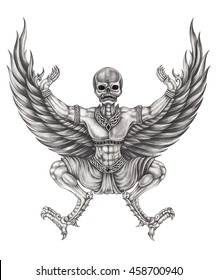 Skull mix eagle wings surreal fantasy art. Hand pencil drawing on paper.