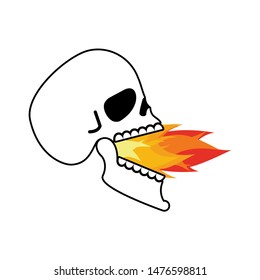Skull open mouth fire. Head of skeleton open lower jaw