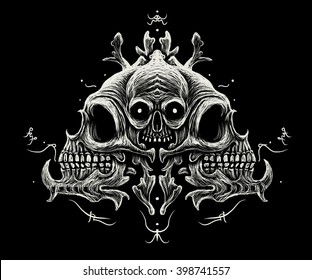 Skull ornament, with black background and symbols