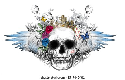 skull pattern design decorated with flowers, wings, roses and butterflies