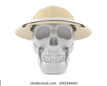 Skull with pith helmet isolated on white background. 3d illustration