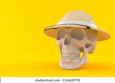 Skull with pith helmet isolated on orange background. 3d illustration
