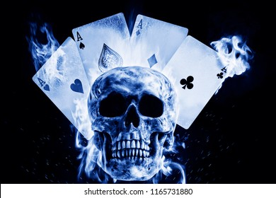 Skull and playing cards in fire on a black background. Photo manipulation artwork, 3D rendering.