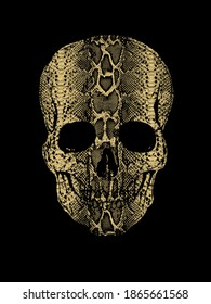 Skull print with snake skin texture