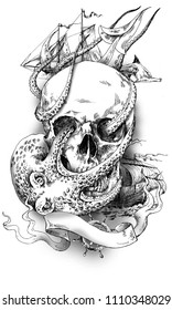 Skull with sea monsters, sailfishes and ribbon. A pirate's skull. Drawing by hand.