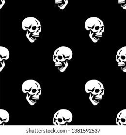 Skull seamless pattern black background
