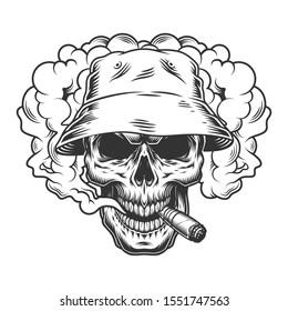 Skull in smoke cloud and panama hat. illustration